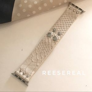 Cream Snakeskin Leather Strap Watch Band